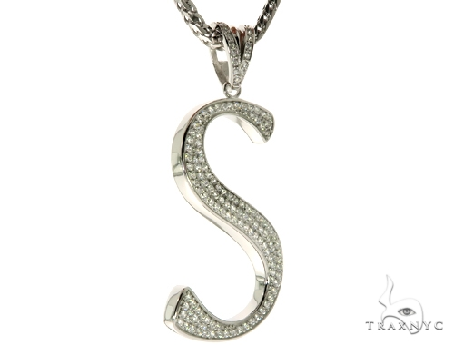 CZ Silver Initial(S) Pendant 30 Inches Franco Chain Set 58515 Metal