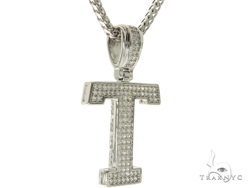 CZ Silver Initial(T) Pendant 24 Inches Franco Chain Set 58488 Metal