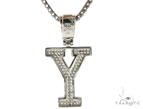 CZ Silver Initial(Y) Pendant 24 Inches Franco Chain Set 58493 Metal