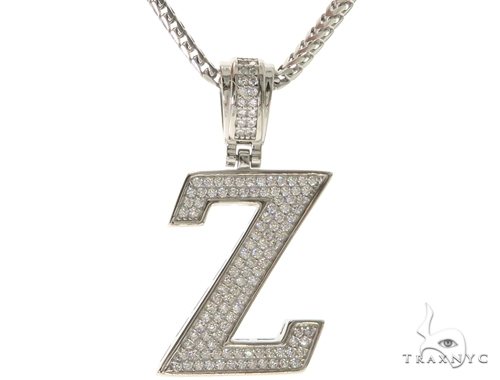 CZ Silver Initial(Z) Pendant 24 Inches Franco Chain Set 58494 Metal