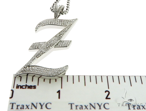 CZ Silver Initial(Z) Pendant 30 Inches Franco Chain Set 58522 Metal
