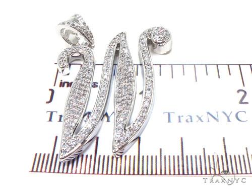 CZ Silver Initial Pendant 35712 Metal