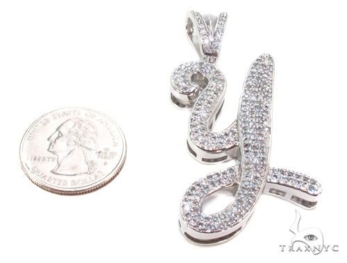 CZ Silver Initial Pendant 35755 Metal
