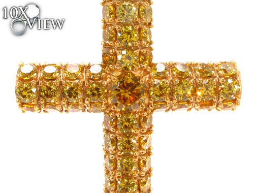 CZ Silver Yellow Cross Crucifix 35528 Silver