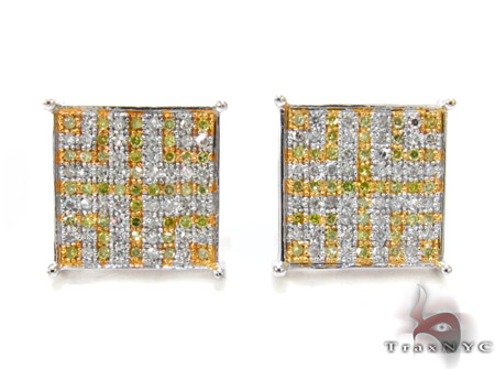 Canary Color Cross Earrings Stone