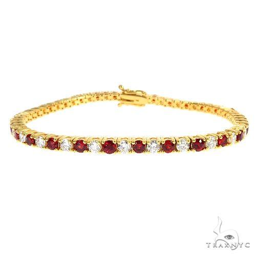 Candy Cane Red Sapphire Diamond Tennis Bracelet 66944 Multicolor SAPPHIRE