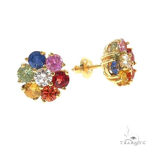 Large Rainbow Diamond Flower Earrings 66858 Style
