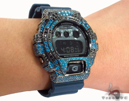Casio G-Shock Blue & Black Silver CZ Watch G-Shock