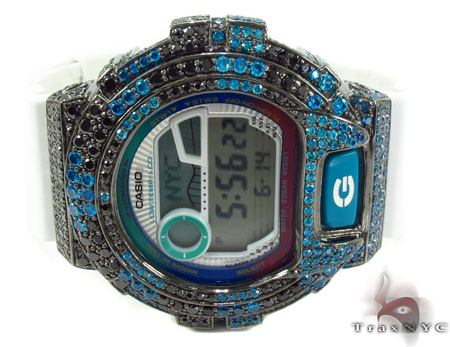 Casio G-Shock Blue and Black CZ Silver Case Watch G-Shock