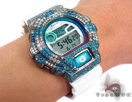 Casio G-Shock Blue and White CZ Silver Case Watch G-Shock