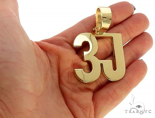 18K Yellow Gold Custom Made 3J Pendant Metal