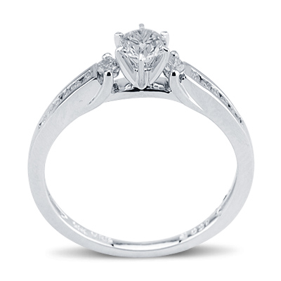 Charming Round Cut Prong ad Channel Diamond Promise Ring 14K White Gold Engagement