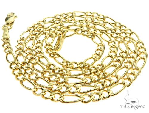 Choker Necklace 14K Yellow Gold Semi-Hollow Figaro Link 18 Inches 1.75mm 1.2 Grams 64049 Gold