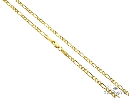 Super Thin Necklace 14K Yellow Gold Semi-Hollow Figaro Link Necklace 20 Inches 1.75mm 1.58 Grams Gold
