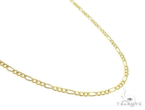 Choker Necklace 14K Yellow Gold Semi-Hollow Figaro Link 20 Inches 1.75mm 1.4 Grams 64050 Gold