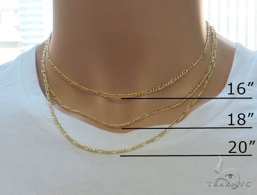 Choker Necklace 14K Yellow Gold Semi-Hollow Figaro Link 20 Inches 1.75mm 1.58 Grams Gold