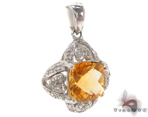 Cushion Citrine & Diamond Pendant 34033 Stone