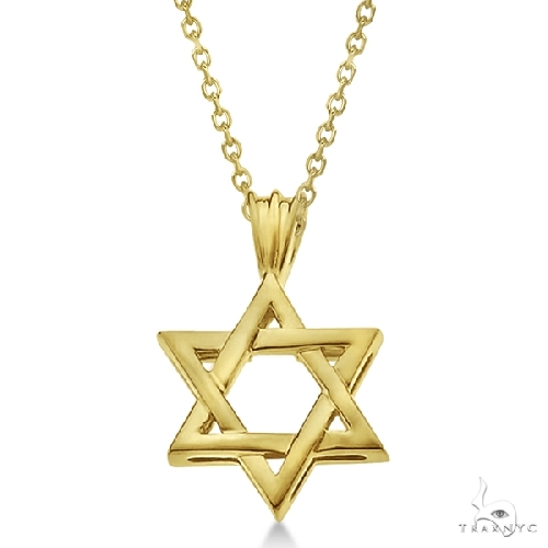 Classic Jewish Star of David Pendant Necklace Solid 14k Yellow Gold Gold