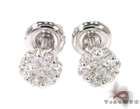 Cluster Diamond Stud Earrings 27063 Stone