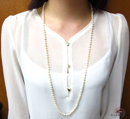 Cream 1 Strand Pearl Long Necklace 31452 Pearl