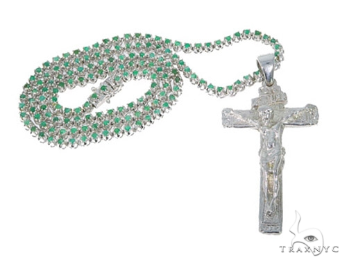 Cross Crucifix Emerald Gemstone Silver Chain 30 Inches 5mm 55 Grams 44842 Silver