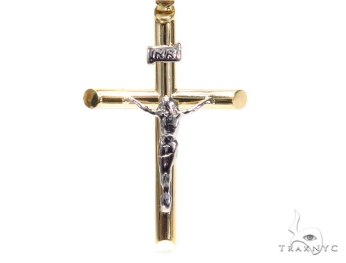 Cross Gold Rosary Chain 28 Inches 4mm 8.8 Grams 42461 Gold