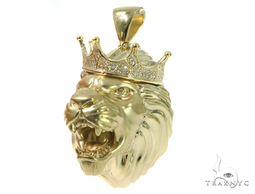 Large Crown Lion Head Diamond Pendant 49161 Metal