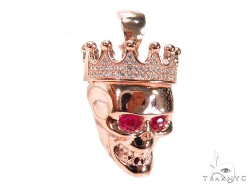 Crown Skull Sterling Silver Pendant 41165 Metal