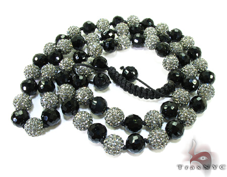 Crystal with Onyx Chain 30 Inches, 9mm, 78.2 Grams Silver
