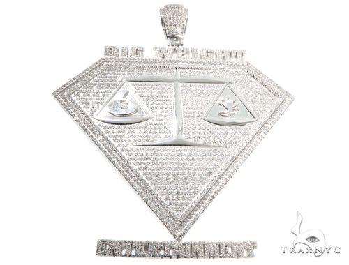 Cubic Zirconia .925 Sterling Silver Custom Large Pendant 64142 Metal
