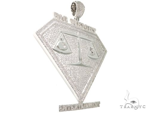 Cubic Zirconia .925 Sterling Silver Custom Large Pendant 64142 Metal