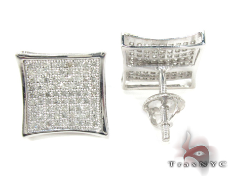Curved Square Diamond Earrings 27124 Metal