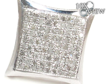 Curved Square Diamond Earrings 27126 Metal