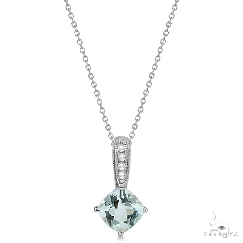 Cushion Cut Aquamarine and Diamond Pendant in 14k White Gold Gemstone