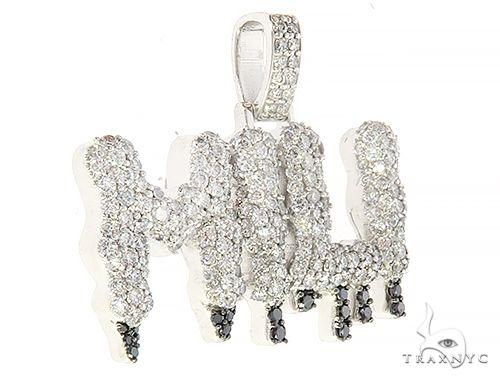Custom  MILI Name Pendant with Drip in Black Diamonds 65221 Women Specials