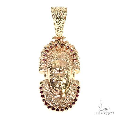 Custom 14K Gold Ruby African Mask Pendant 57697 Metal