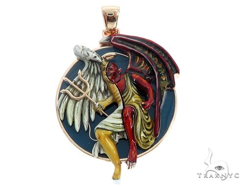 Custom 14K Yellow Gold Angel and Demon Charm Pendant 65013 Metal