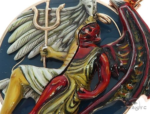 Custom 14K Yellow Gold Angel and Demon Charm Pendant 65013 Metal