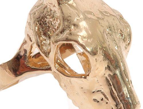 Custom 14K Yellow Gold Antelope Skull Ring 65011 Metal
