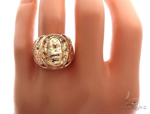 Custom 14K Yellow Gold Buddha Ring 65009 Metal