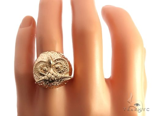 Custom 14K Yellow Gold Owl Ring 65010 Metal