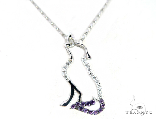 Custom Amethyst Diamond Wolf Pendant Set 45585 Stone