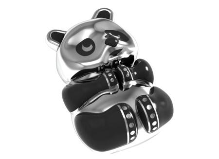 Custom Black Enamel Panda Pendant Metal
