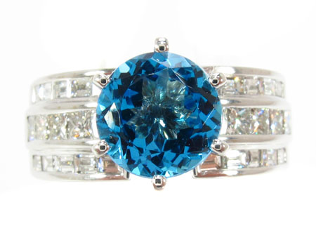 Custom Blue Topaz Ring Anniversary/Fashion