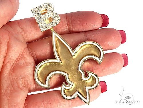 Custom Diamond Letter B Gold Saints Pendant 65228 Metal
