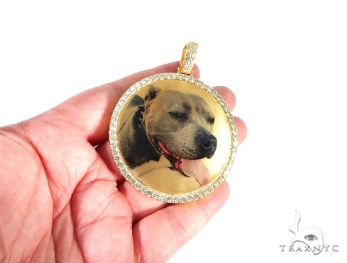 14K Yellow Gold Customizable Photo Pendant 2.5 inches  64013 Metal