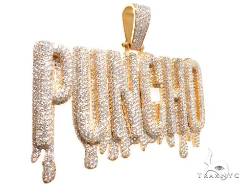 Custom Flower-Set-Diamond 'PUNCHO' Pendant Metal