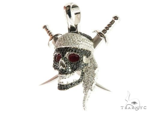 Custom Diamond Skull & Swords Pendant 64151 Metal