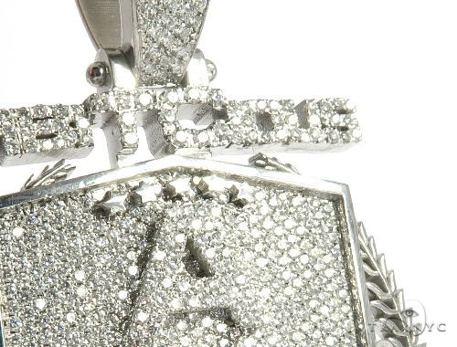 Custom Flower Set Diamond AMB Pendant Metal