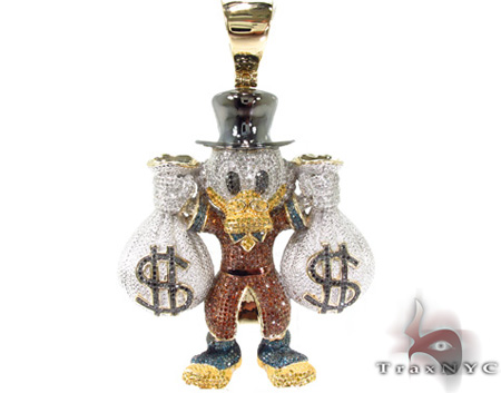 Custom Jewelry - Scrooge McDuck Red Diamond Pendant Metal